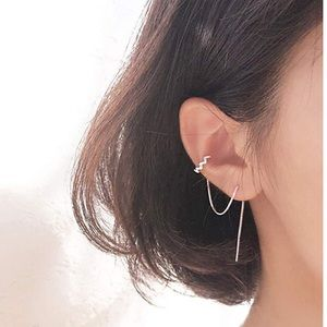 Sterling silver pull through chain cuff earrings